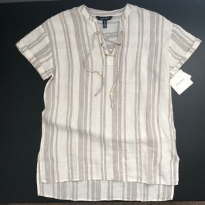 Ellen Tracy Pure Linen Sandstone Striped Tunic